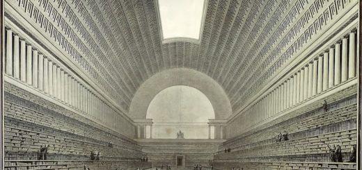 Étienne-Louis Boullée: Vue intérieure de la nouvelle salle projetée pour l'agrandissement de la bibliothèque du Roi, 1784