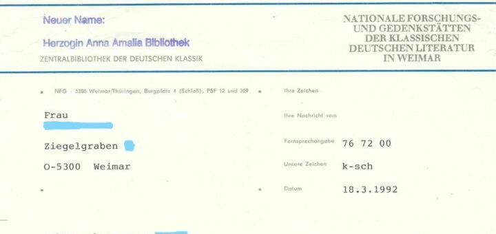 Provisorisches Briefpapier Herzogin Anna Amalia Bibliothek nach der Umbenennung